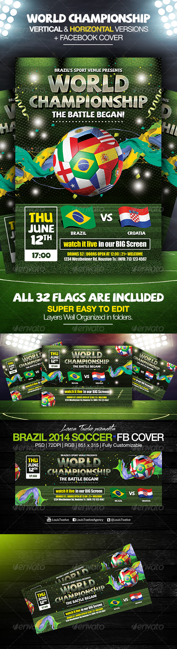 GraphicRiver Brazil 2014 Soccer Cup Flyers & FB Cover 7891754