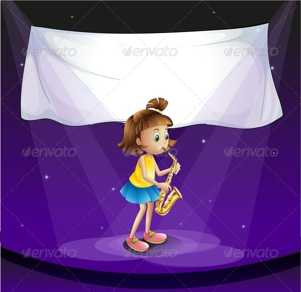 GraphicRiver Girl on stage with Empty Banner 7893871