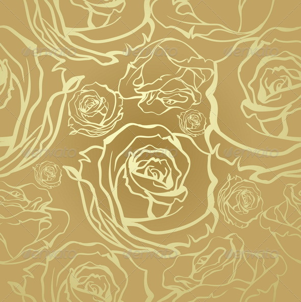 GraphicRiver Seamless Golden Roses 7893902