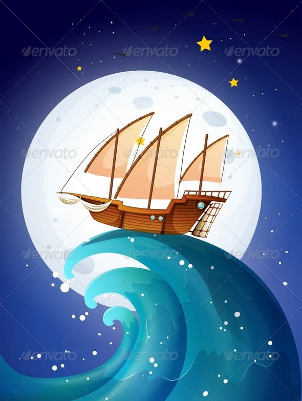 GraphicRiver Ship on Giant Waves 7894289