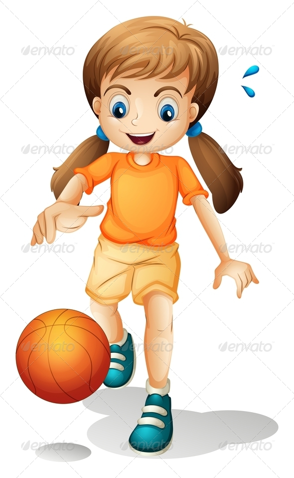 GraphicRiver Girl Playing Basketball 7894458