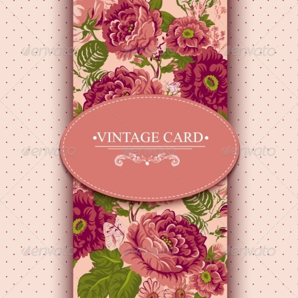 GraphicRiver Elegance Vintage Floral Card with Roses 7894734