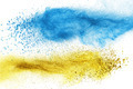 Blue and yellow powder explosion isolated - PhotoDune Item for Sale