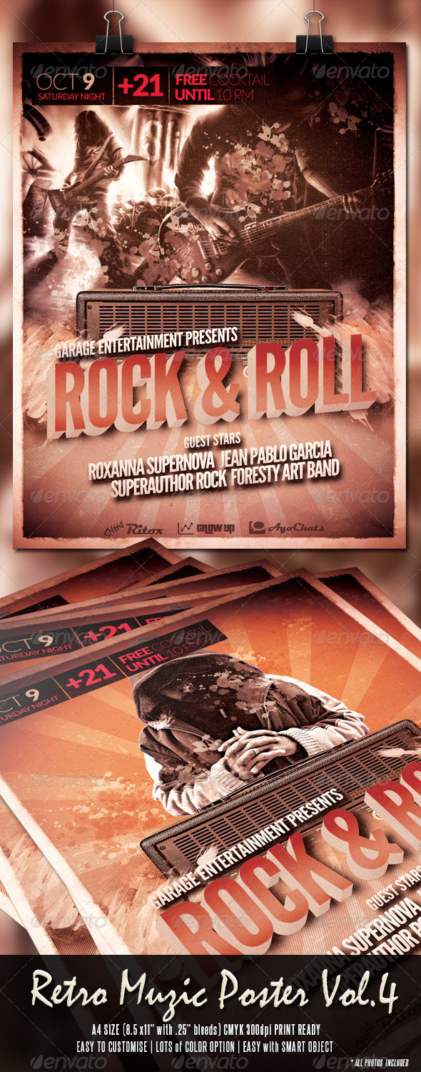 GraphicRiver Retro Muzic Flyer Poster Vol.4 7894810