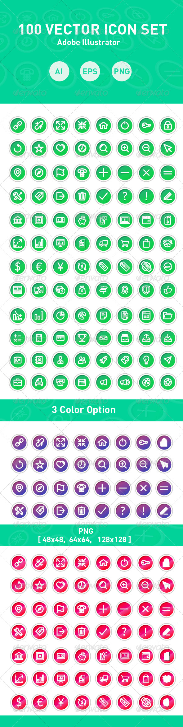 GraphicRiver 100 Vector Icons 7895536
