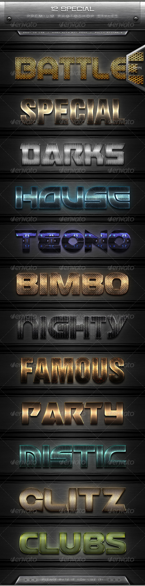 GraphicRiver 12 Special Text Effect Styles 7899772