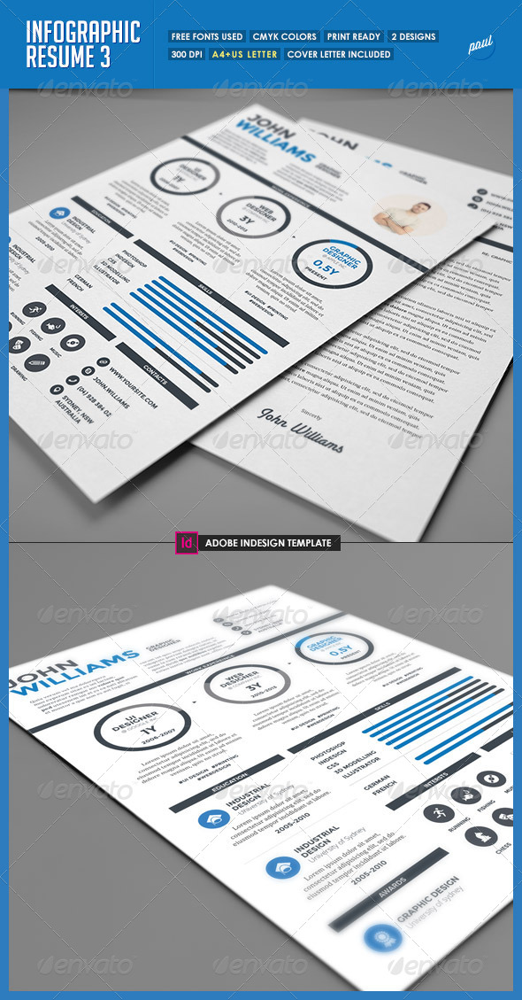 GraphicRiver Clean Infographic Resume Vol 3 & Cover Letter 7900123