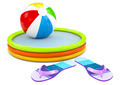 Beach ball, infatable pool with flip flops on white background - PhotoDune Item for Sale