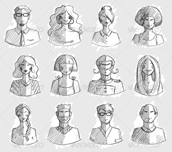 GraphicRiver Characters design Hand drawn icons Faces Sketch 7901437