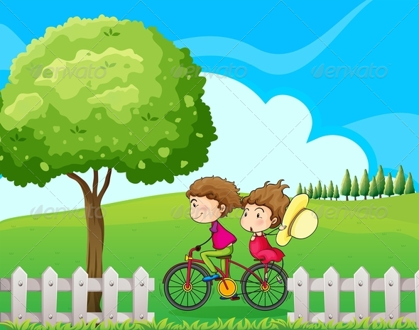 GraphicRiver Boy Biking with Girlfriend 7902682
