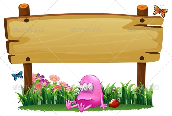 GraphicRiver Poisoned Monster with Empty Wooden Sign 7902699