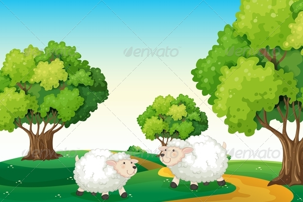 GraphicRiver Two Sheep in the Countryside 7903744