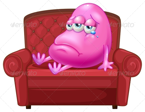 GraphicRiver Crying Monster on Red Sofa 7904040