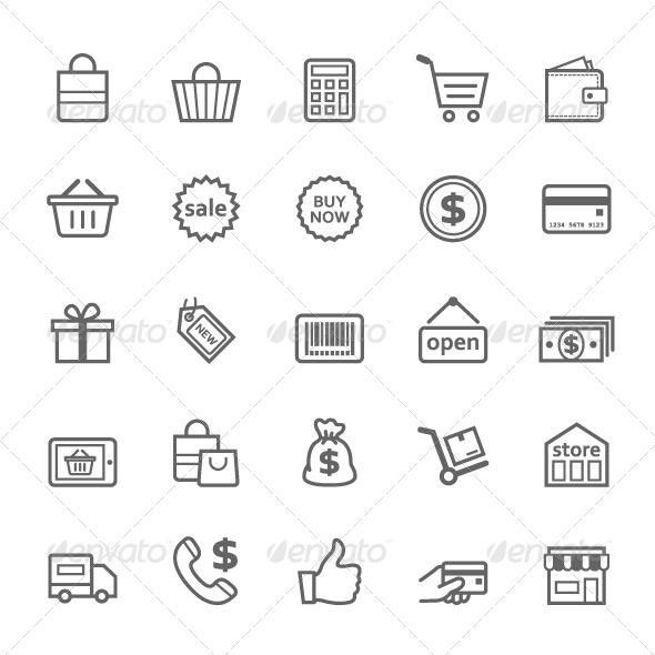 GraphicRiver 25 Outline Stroke Shopping Icons 7904096