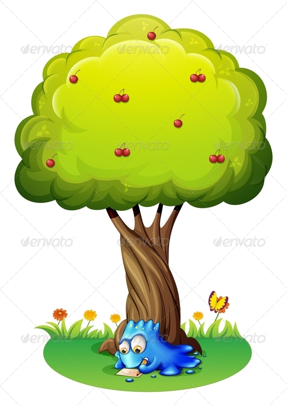 GraphicRiver Monster Writing Under Tree 7904186