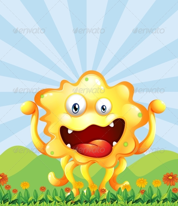 GraphicRiver Yellow Monster in Field 7904240