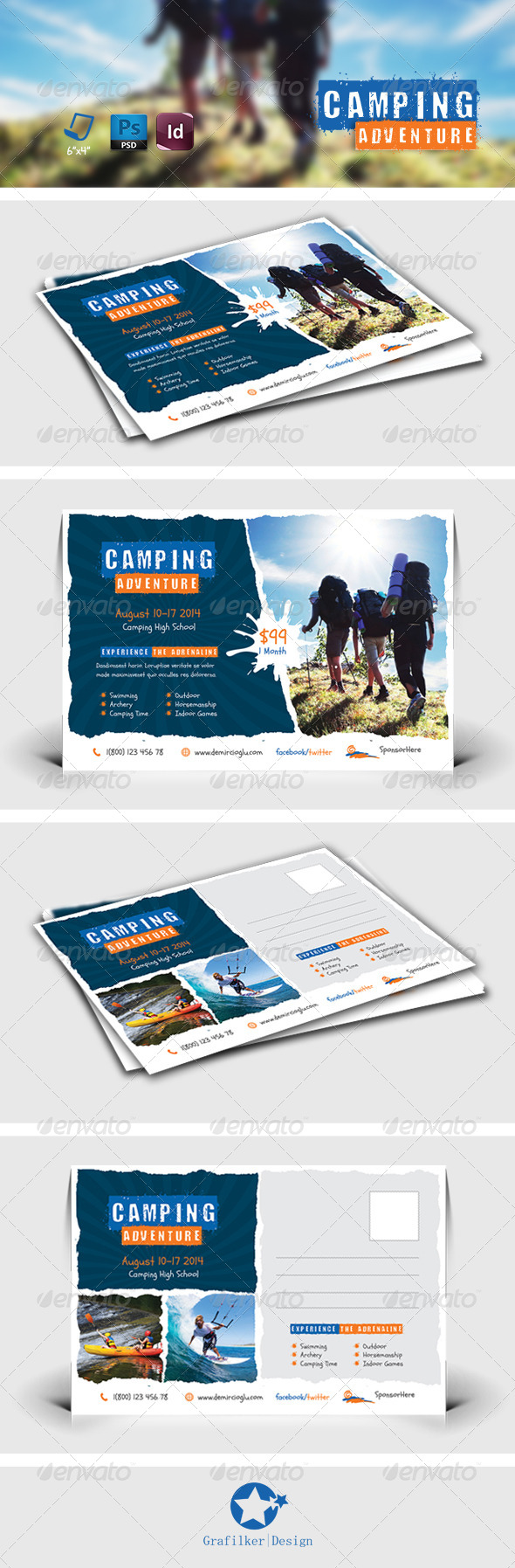 GraphicRiver Camping Adventure Postcard Templates 7904249