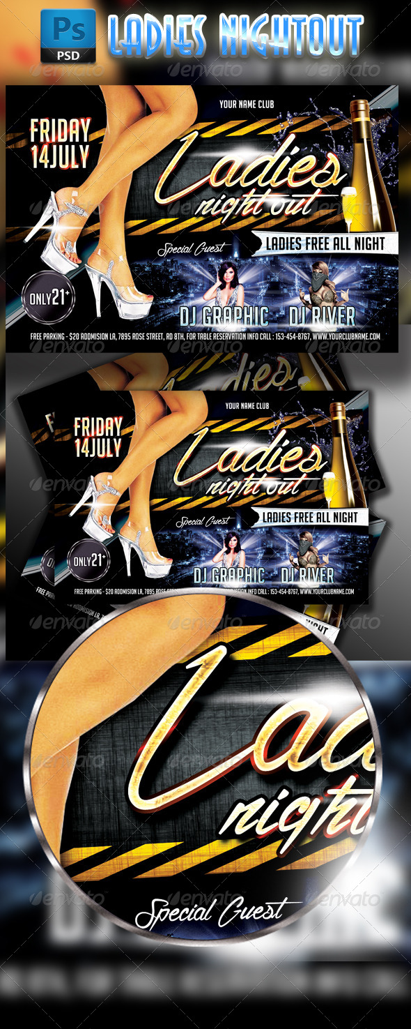 GraphicRiver Ladies Nightout Party Flyer Horizontal Template 7891301