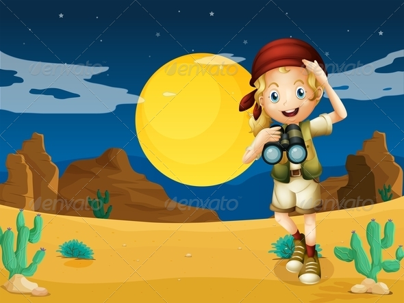 GraphicRiver Girl in the Desert with Binoculars 7904711