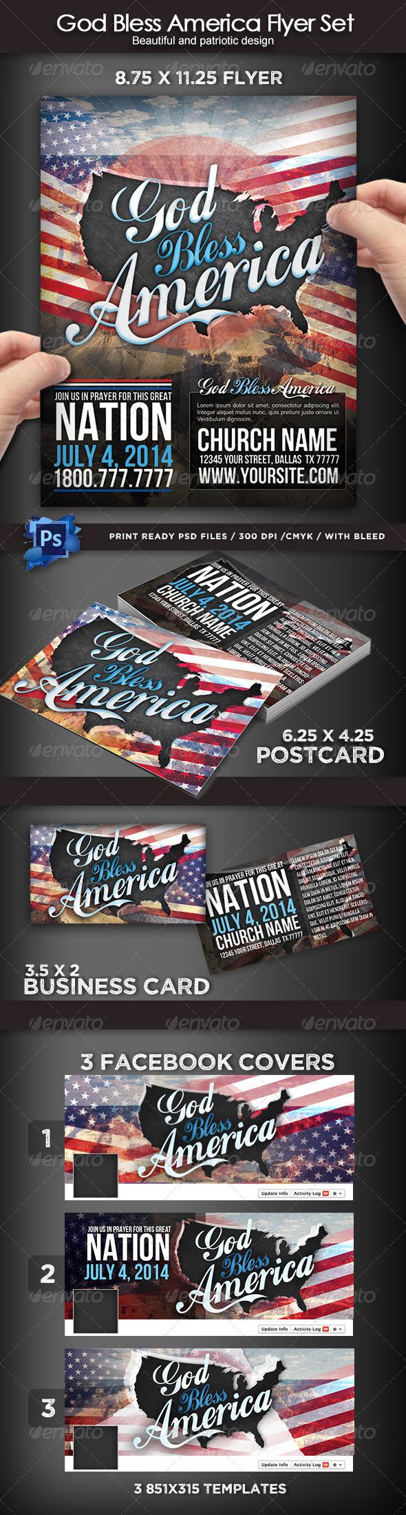 GraphicRiver God Bless America Flyer Set 7904758