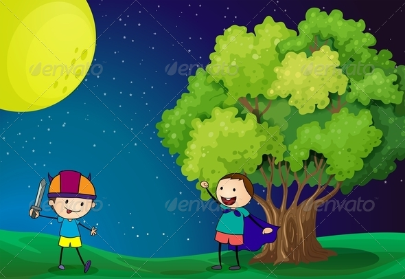 GraphicRiver Kids Playing in Field at Night 7904887