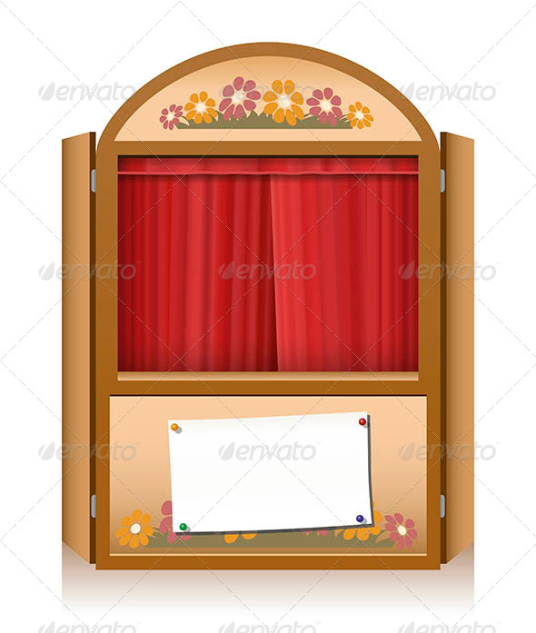GraphicRiver Punch and Judy Booth Brown Closed Curtain 7905369