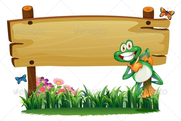 GraphicRiver An Empty Wooden Signboard with a Playful Frog 7905402