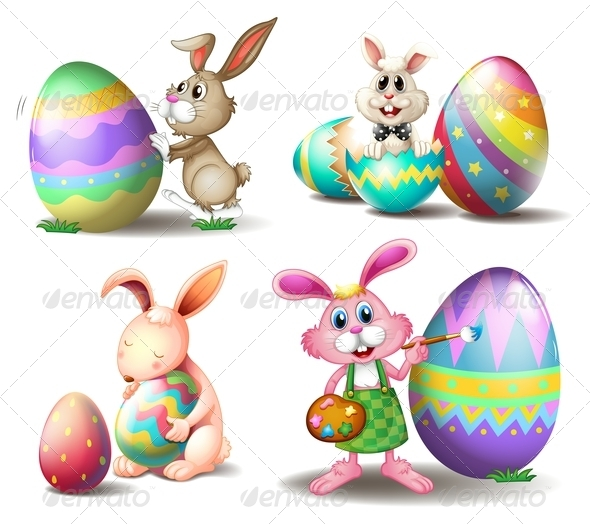 GraphicRiver Bunnies with Easter Eggs 7905425