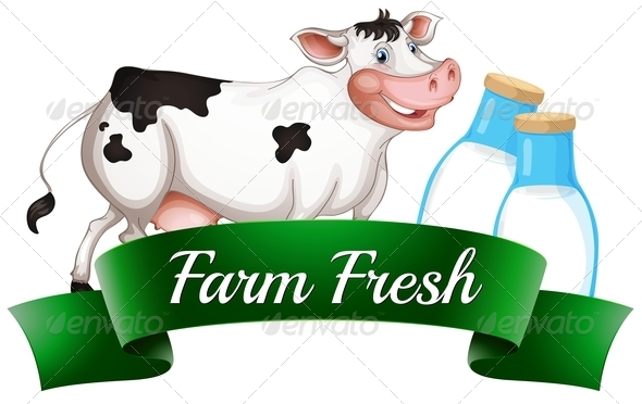 GraphicRiver A Cow with a Farm Fresh Label 7905503