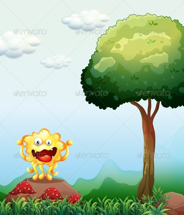 GraphicRiver Smiling Monster Above a Rock Near Red Mushrooms 7905532