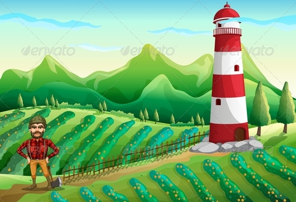GraphicRiver Farm with a Tower and a Lumberjack 7905642