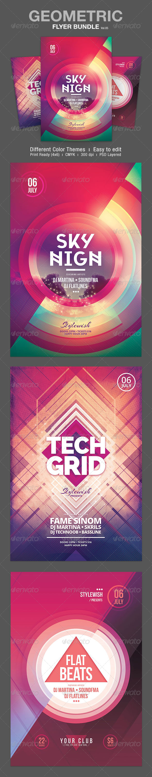 GraphicRiver Geometric Flyer Bundle Vol.05 7905746