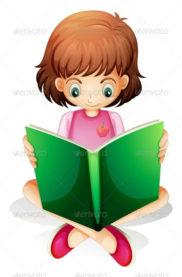 GraphicRiver Young Girl Reading a Green Book 7906037