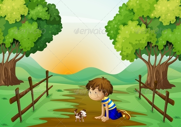 GraphicRiver Young Boy and His Pet in the Middle of the Street 7906230