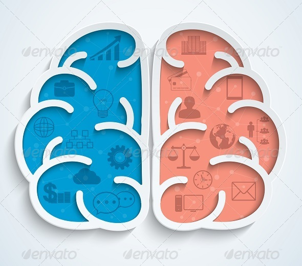 GraphicRiver Brain with Business Icons on White Background 7908632