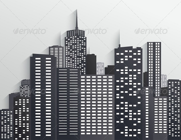 GraphicRiver Black and White City Skyline 7909002