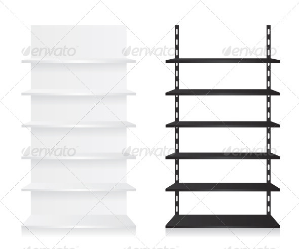 GraphicRiver Empty Shop Shelves Black and White 7910289