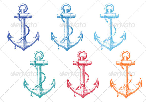 GraphicRiver Vintage Anchor with Rope Set 7910379