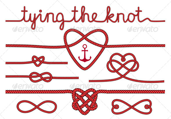 GraphicRiver Tying the Knot Rope Hearts Set 7910385