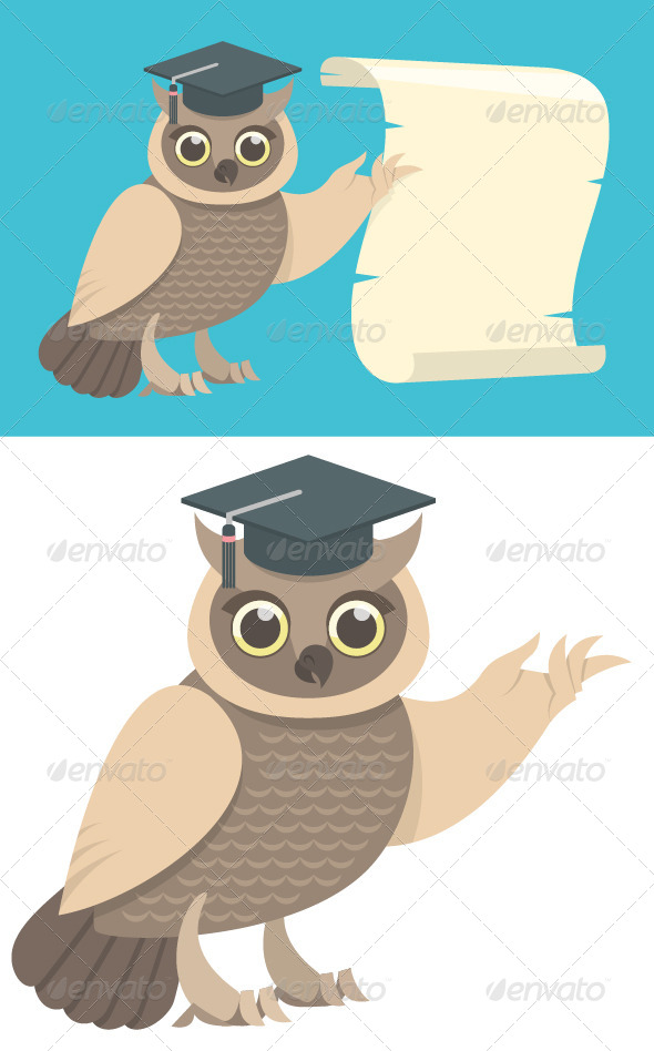 GraphicRiver Wise Owl with a Scroll 7910603