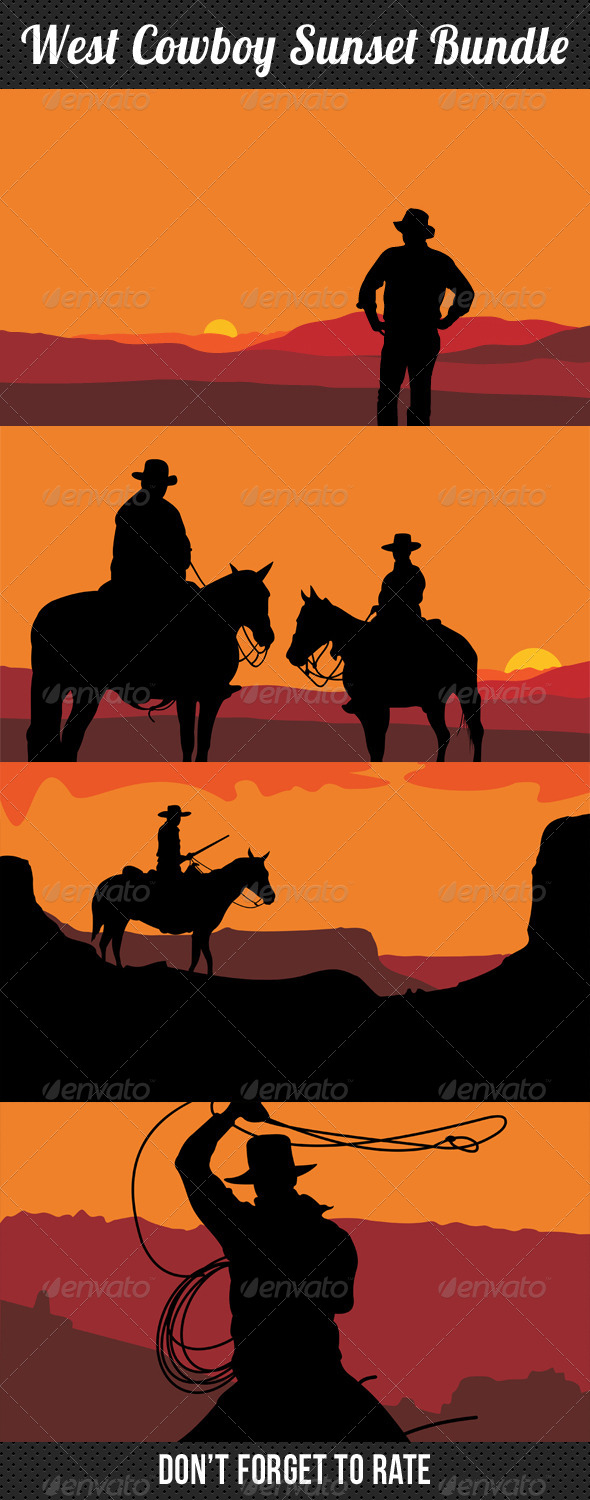 GraphicRiver West Cowboy Sunset Bundle 7901582
