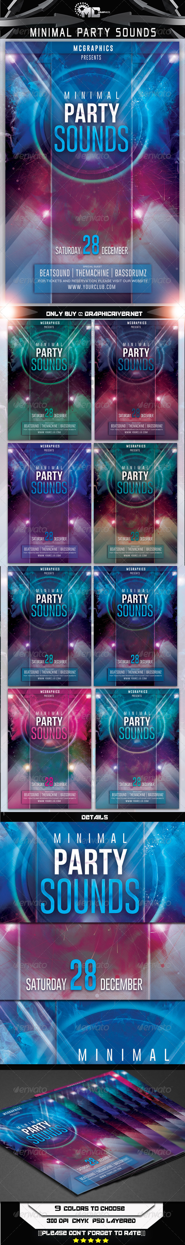 GraphicRiver Minimal Party Sounds Flyer Template 7846400