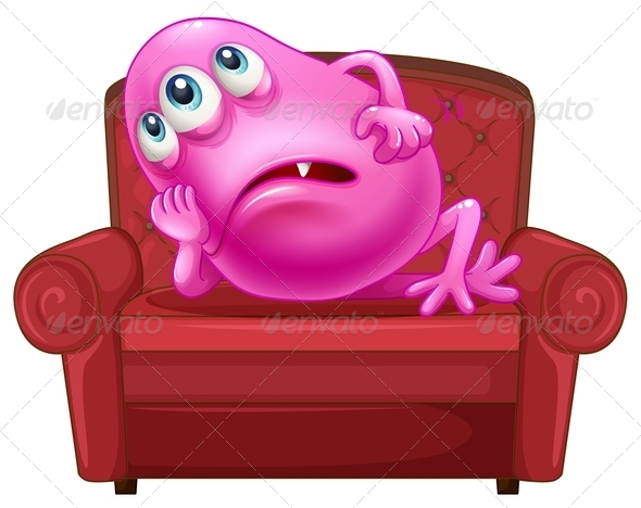 GraphicRiver Couch with a Pink Monster 7911212
