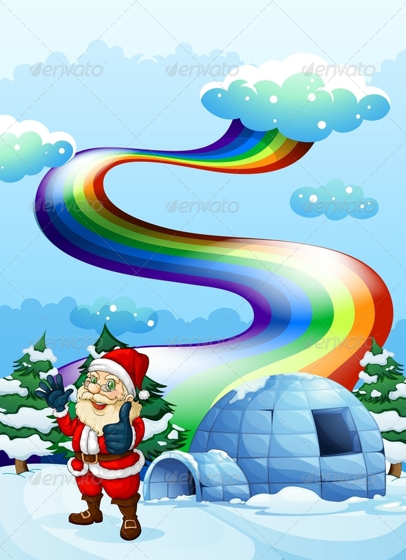 GraphicRiver Santa with Igloo and Rainbow 7911694
