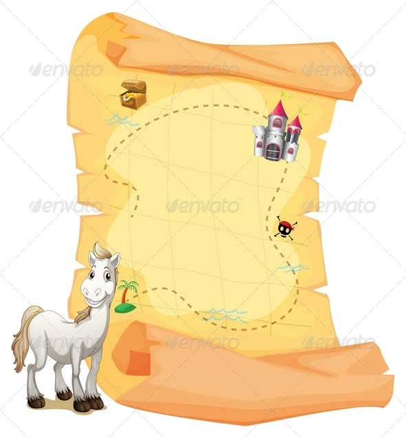 GraphicRiver A White Horse and a Treasure Map 7911718