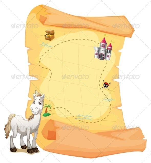 GraphicRiver A White Horse and a Treasure Map 7911718