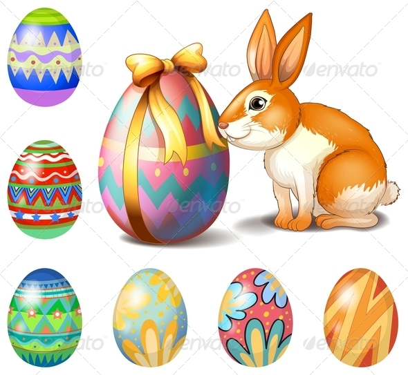 GraphicRiver Seven Easter Eggs and a Bunny 7911864