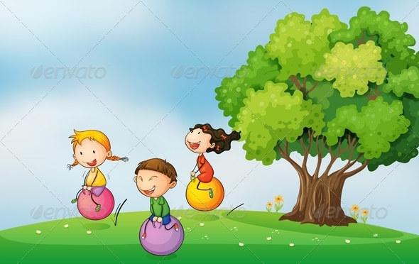GraphicRiver Three Kids on Bouncing Balls 7911910