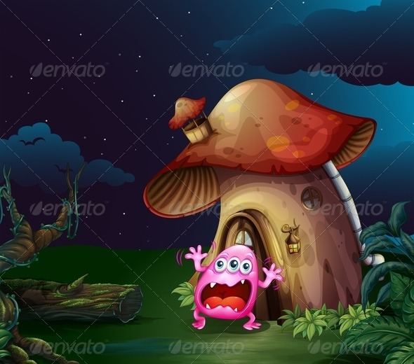 GraphicRiver Scared Monster Near the Mushroom House 7911982