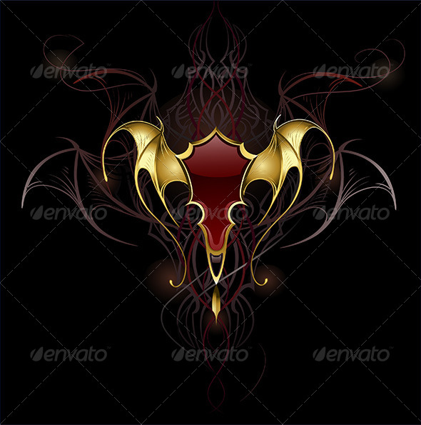 GraphicRiver Banner with Golden Membranous Wings 7911981